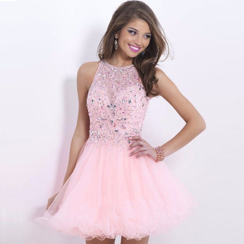 Light Pink Homecoming Dresses Halter Vestido De Festa Curto Short
