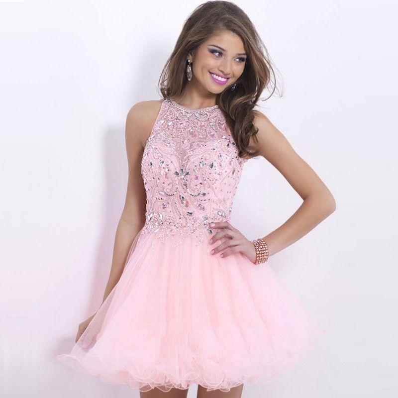 Light Pink Homecoming Dresses Halter Vestido De festa Curto Short ...