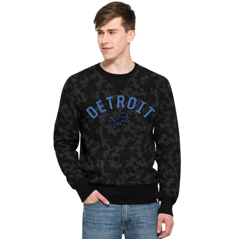 23bbed2d3 Detroit Lions  47 Brand Stealth Camo Soft Washed Sweatshirt - Black ...