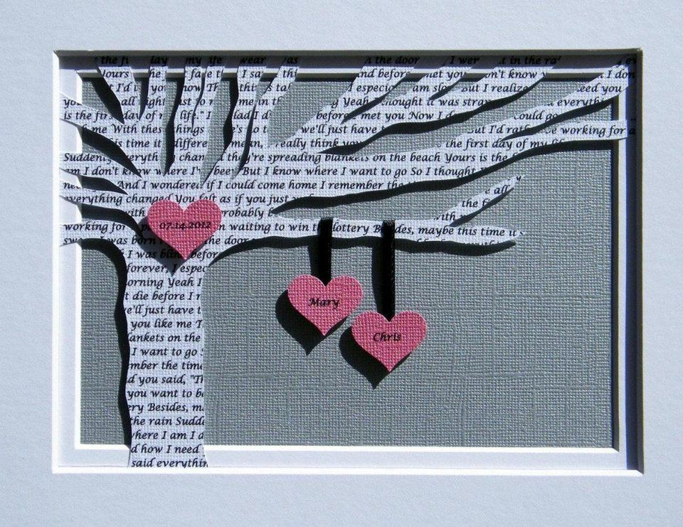 Personalized First Anniversary Gift Wedding Song Lyrics Tree Customized Frame Optional