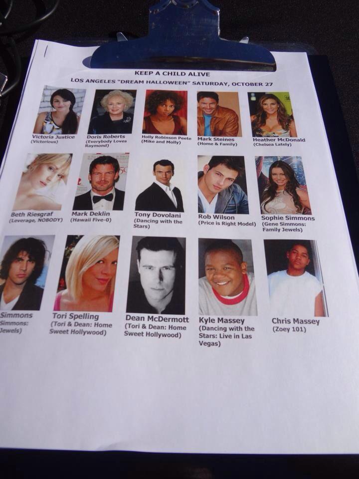 Partial celebrity attendance list, 2012 #DreamHalloween
