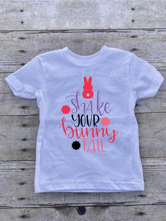 4ff44847d41da Shake Your Bunny Tail Custom Vinyl Shirt/Girl Easter Shirt/Toddler Easter  Shirt/Easter Shirt/Custom