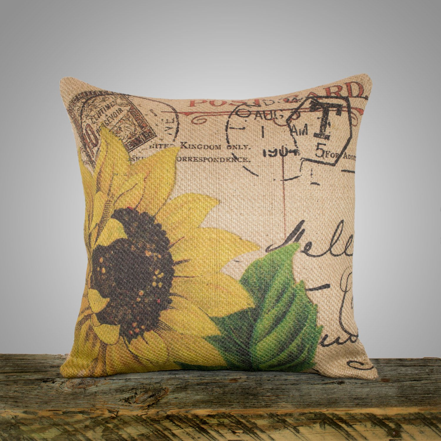 Sunflower Pillow Cover Burlap Pillow Cushion Throw Pillow