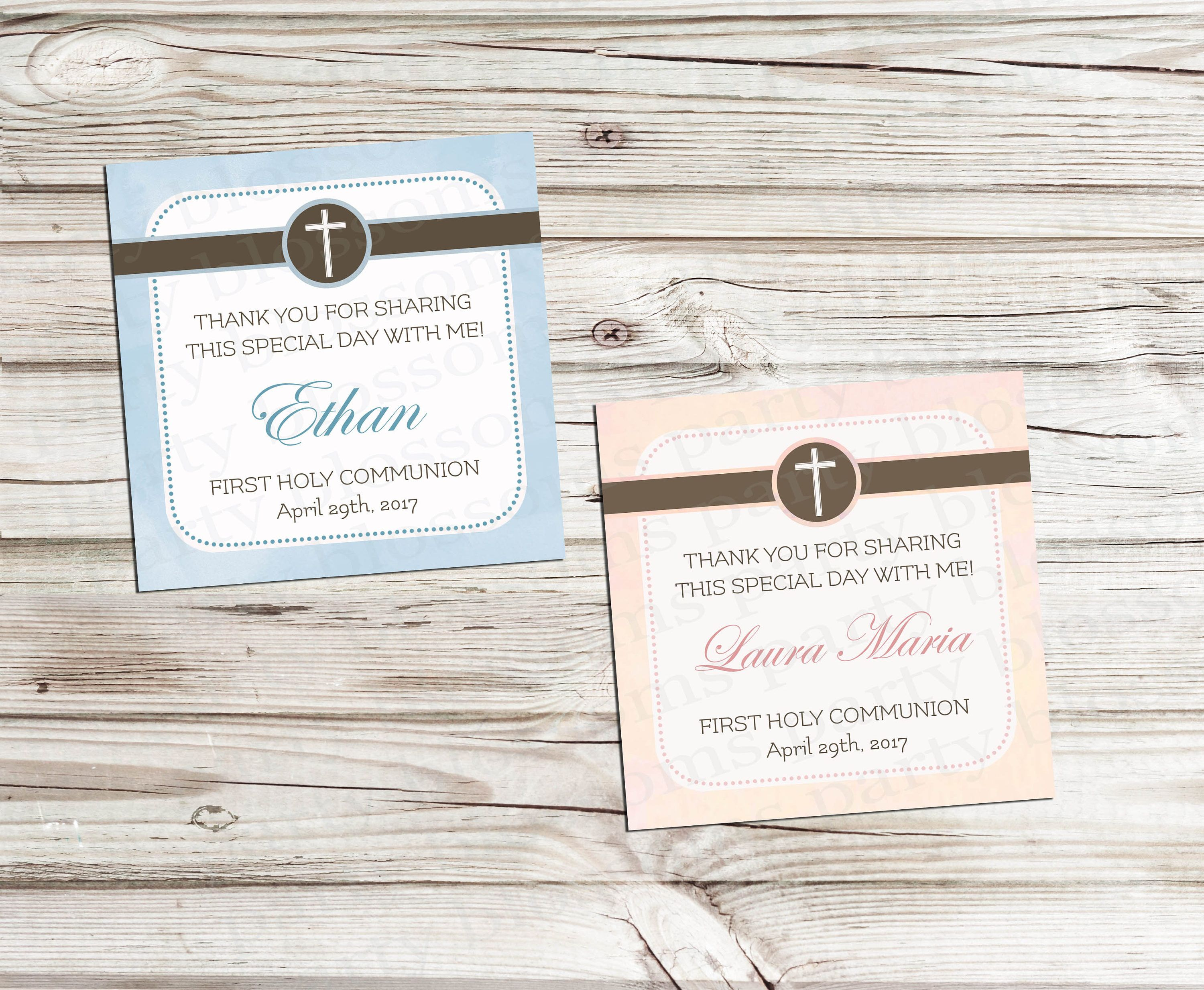 Customizable Boy or Girl First Holy munion Favor Tag Baptism