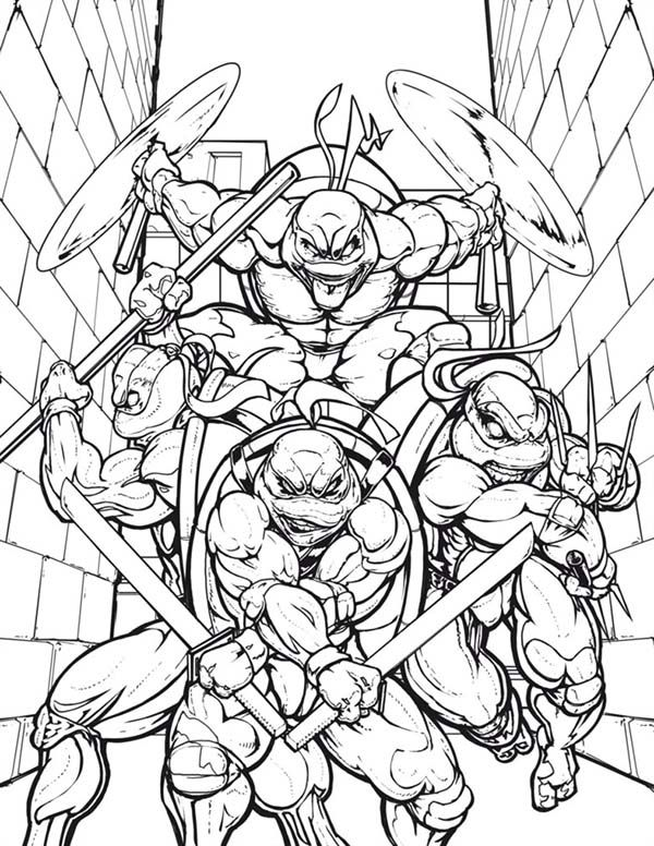 Teenage Mutant Ninja Turtles In The Alley Coloring Page