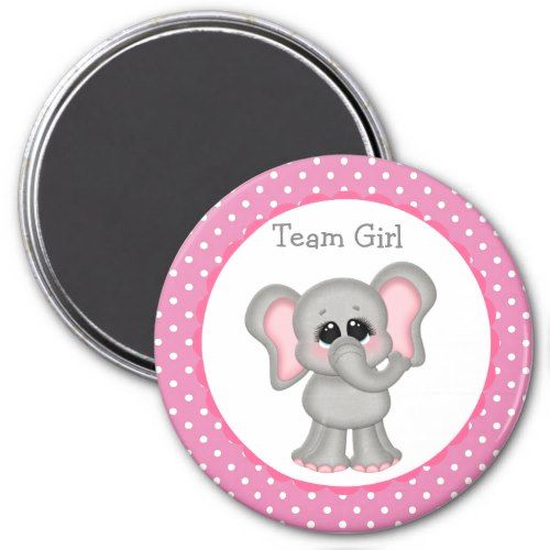 Pink and Gray Elephant Custom Magnet