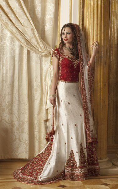 Indian Bridal Dress Red White Beauty