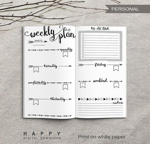 Printable Personal Weekly Planner Insert PDF files DOWNLOAD