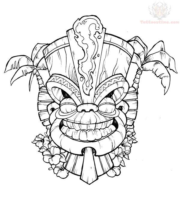 Tiki Masks Coloring Sheets Tiki Tattoo Tiki Art Tiki Mask