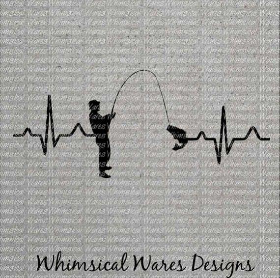 Heartbeat fishing, fishing, heartbeat svg, digital