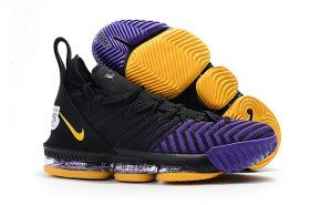 b4d36a4ac748b Nike LeBron 16 King Lakers Black Gold Purple James Trainers Men s  Basketball Shoes