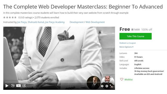 Coupon Udemy - The Complete Web Developer Masterclass Beginner To - example of a coupon