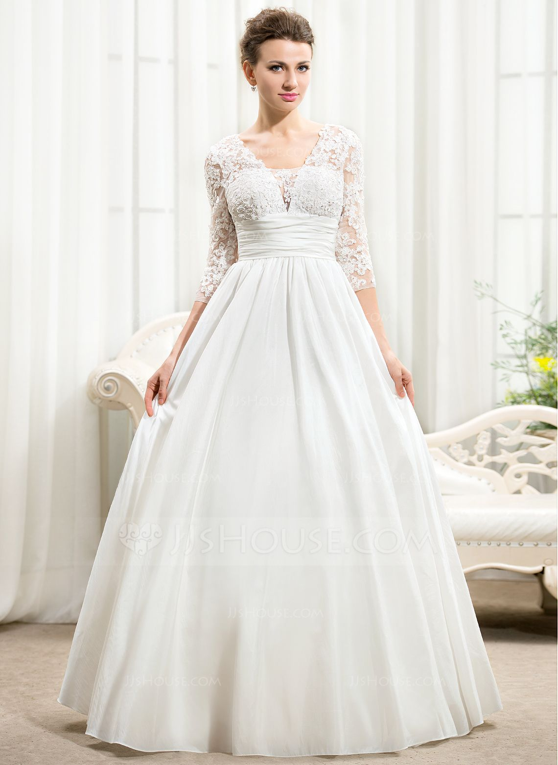 Alineprincess vneck floorlength taffeta lace wedding dress with