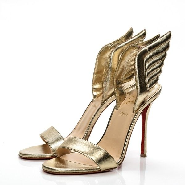 CHRISTIAN LOUBOUTIN Nappa Laminata Samotresse 100 Sandal Heels 39... ❤ liked on Polyvore featuring shoes, sandals, christian louboutin shoes, wing shoes, metallic platform sandals, metallic shoes and evening shoes
