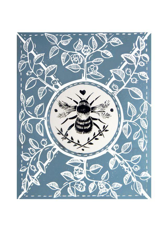 Little Bee Blue Original Linocut Print