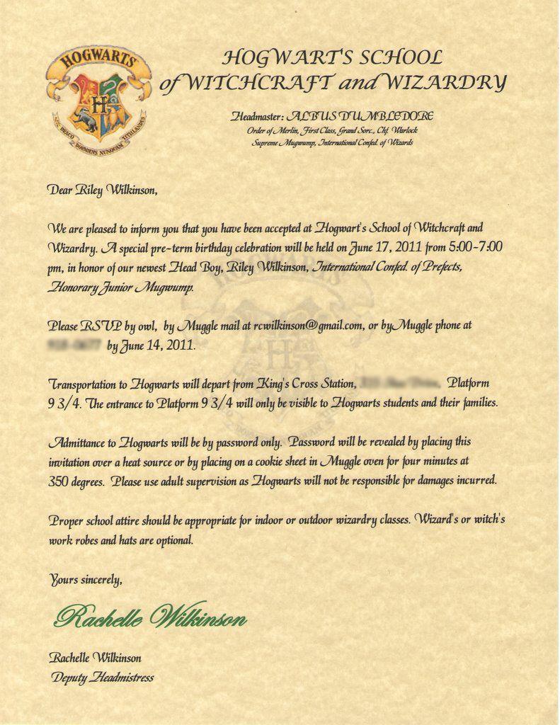 Hogwarts Invitation Letter Harry Potter Birthday Inspiration