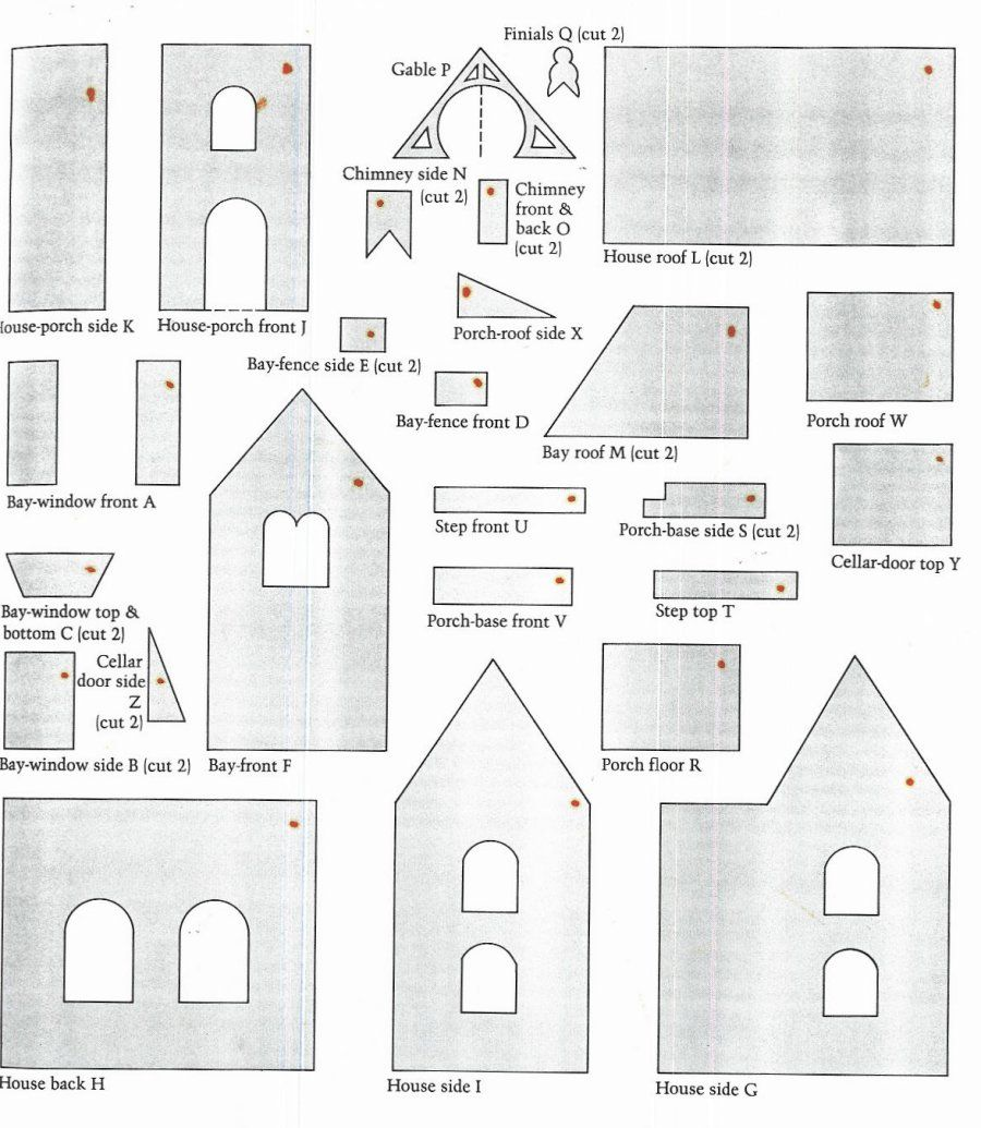 paper house patterns | A+ Gingerbread House Paper Patterns ...