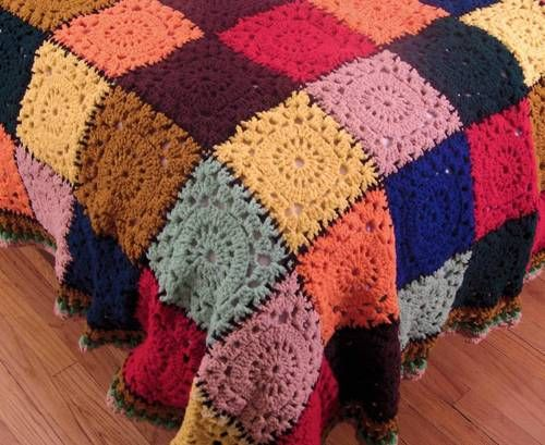 Deep Color Squares Crochet Afghan Throw | eBay | I want this ...