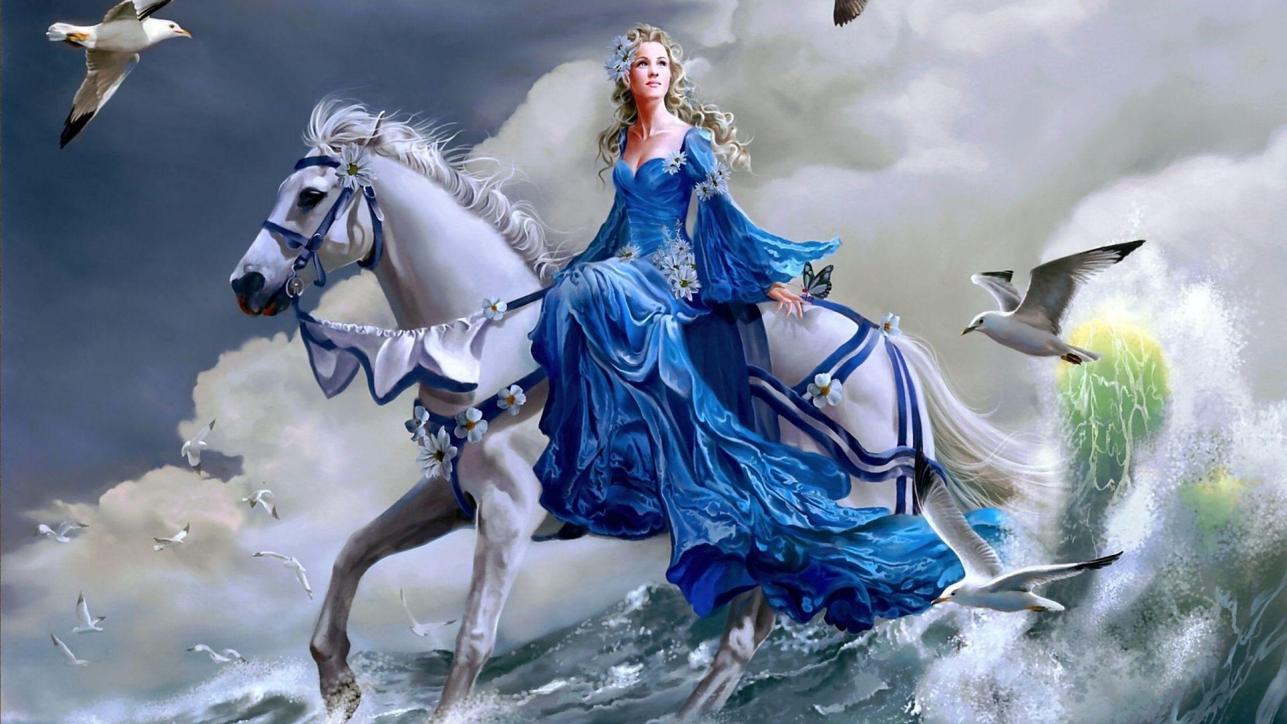 Fantasy Women Woman Fantasy Horse Bird Water Ocean Wallpaper ...