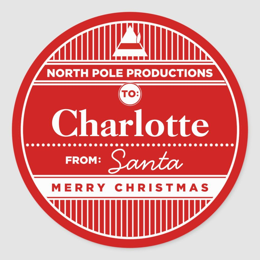 Custom North Pole Productions Christmas Sticker Tags. These tags make it quite easy for Santa's Elves to wrap all the gifts in time for the big delivery.