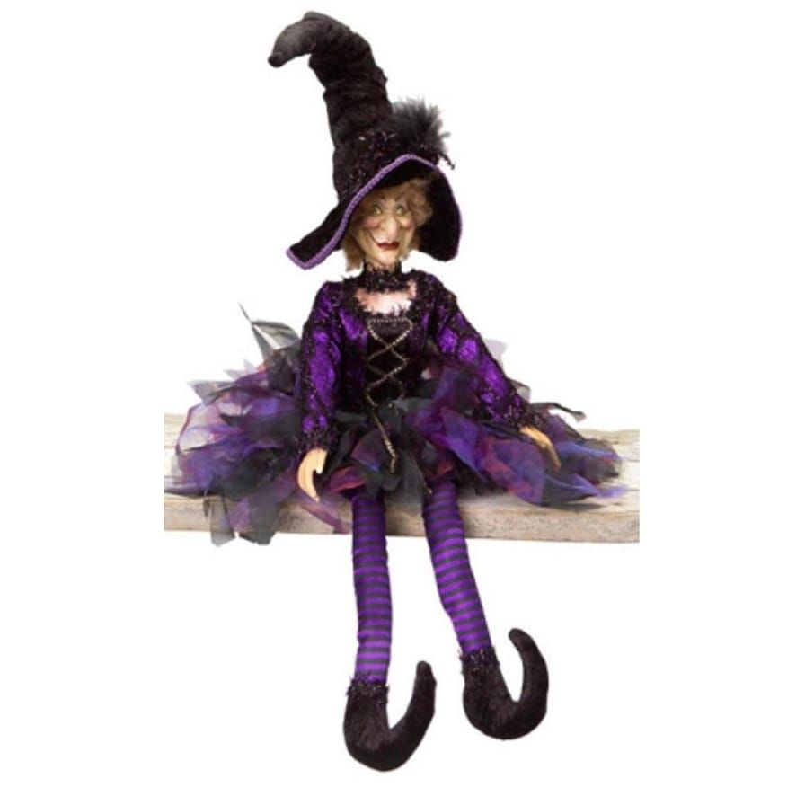 315 Whimsical Purple and Black Posable Halloween Witch Autumn - Whimsical Halloween Decorations