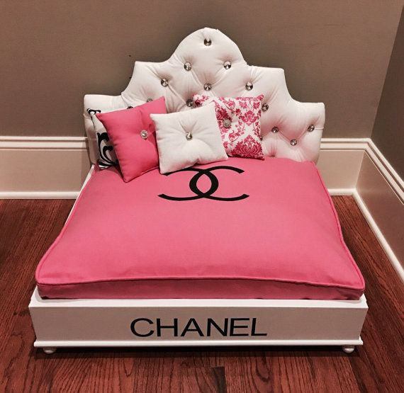 Designer Pet Bed With Velvet Rhinestone Tufted Headboard