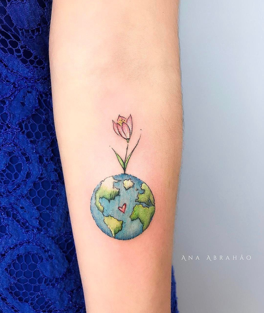 Planet, Earth, Flower, Arm Tattoo, Tattoo For Girl