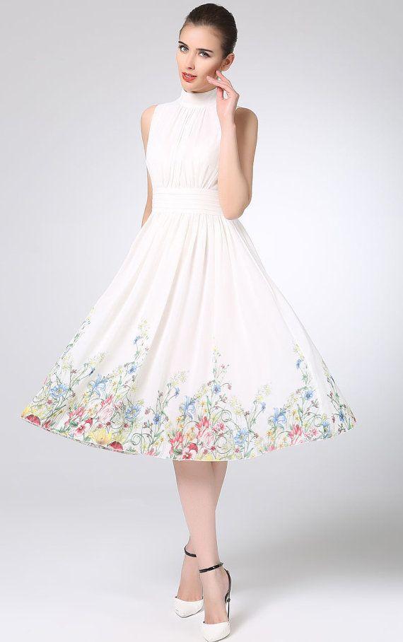 White prom dress chiffon dress midi women dress by xiaolizi ...