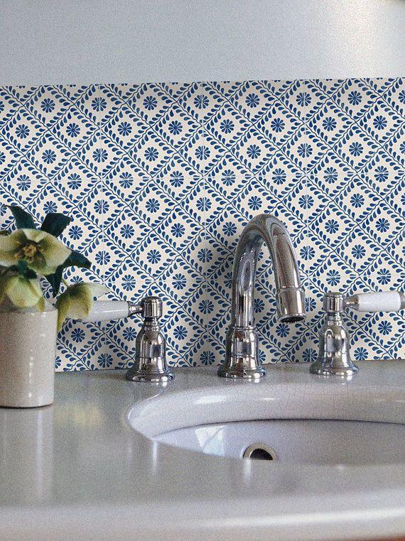 Tile Decals Tiles For Kitchen Bathroom Back Splash Floor Decals Portuguese Azure Vinyl Tile Sticker Pack Color Indigo Blue Tile Decals Tiles Kitchens Bathrooms