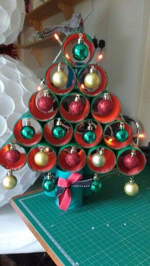 xmas tree from large cardboard tubes glue gun glitter n battery lights - Large Cardboard Christmas Decorations