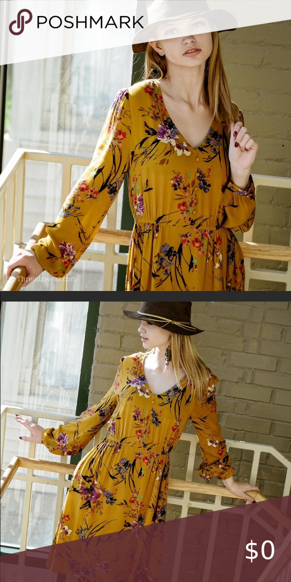 Yellow floral dress Yellow Floral Dress, midi length. Beautiful for spring or fa...#beautiful #dress #floral #length #midi #spring #yellow