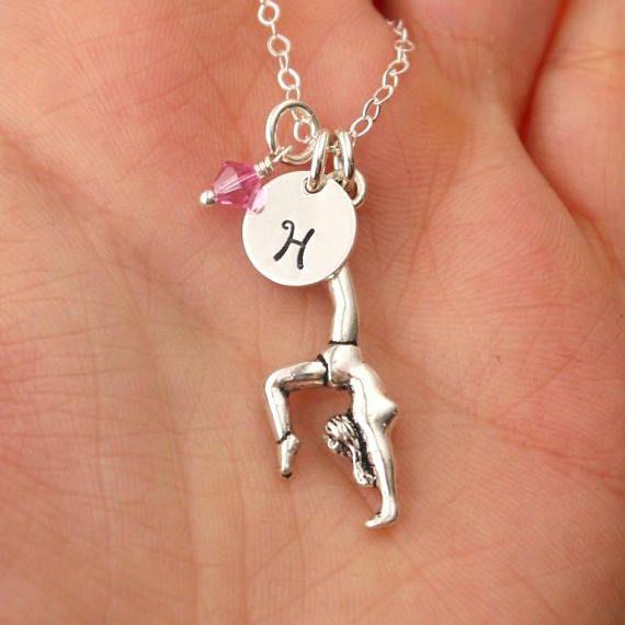 Gymnast Necklace, Gymnastics Necklace, Personalized, Gymnastics Gift for Girls, Gymnastics Birthday Party Gift, Gymnast, Initial Birthstone
