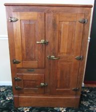 Antique Gibson Oak Ice Box Refrigerator Porcelain Interior Original Hardware Country Kitchen Woman Cave Old Things