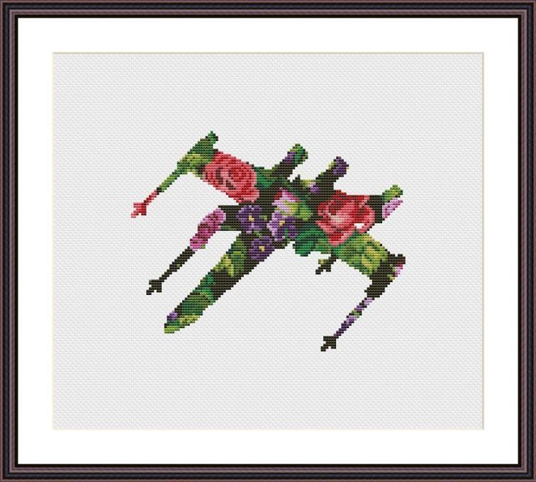 Star Wars Cross Stitch PDF pattern Floral X-wing   Pinterest ...