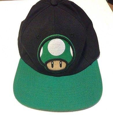 0e39cf26866 Super Mario Bros. Green Mushroom 1-Up Baseball Cap Black Green Hat ...