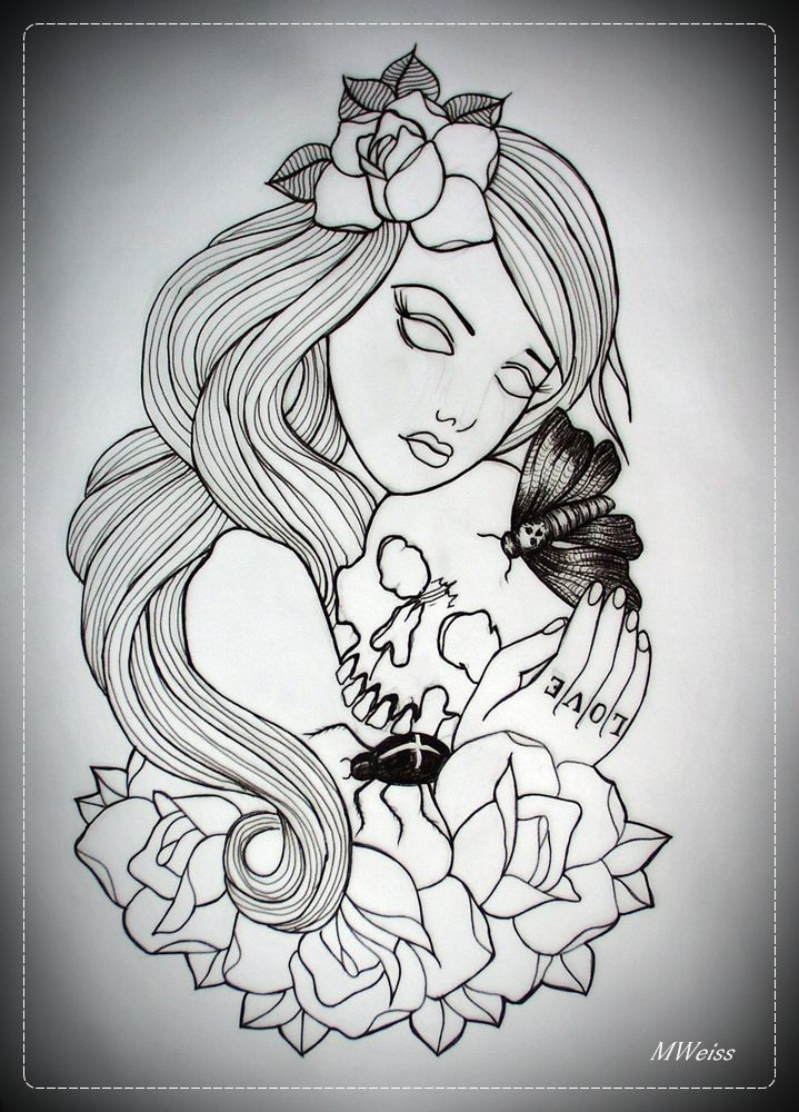 skull tattoo flash outlines pictures to pin on pinterest tattooskid. Black Bedroom Furniture Sets. Home Design Ideas