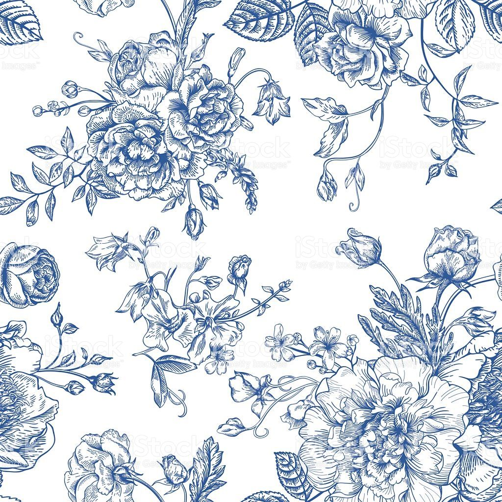 Seamless Vector Vintage Pattern With Bouquet Of Blue Flowers On A Black Flowers Blue Flowers Vintage Graphics