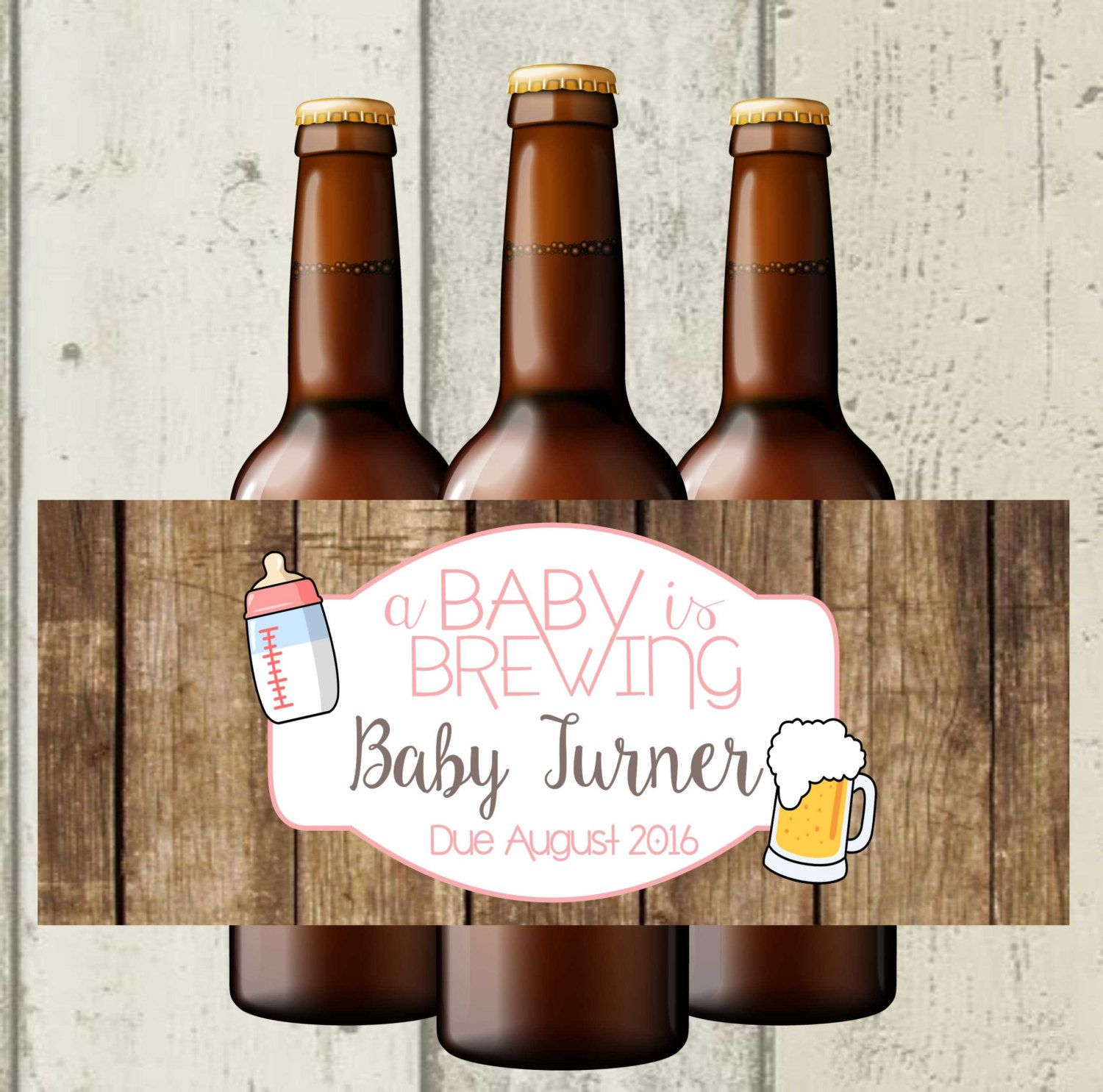 A Baby Is Brewing Beer Bottle Labels, Baby Shower Beer