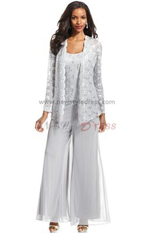 Three Piece mother of the bride pants suits with lace jacket nmo ...