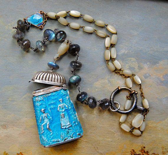 Enameled Azure Necklace.  Antique rosary Vintage by LaCapraCanta, $167.00