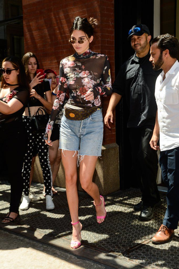 838ce1d2120 Kendall Jenner Was Spotted in NYC Wearing a Sheer Floral Top and Levi s  Bermuda Shorts