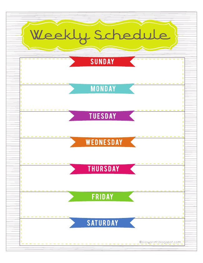 Weekly Schedule  Free Printable From Sissy Print Here Http