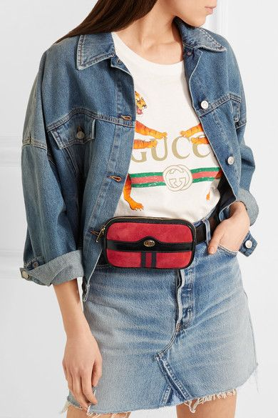 44e1a02675537b Gucci - Ophidia Patent Leather-trimmed Suede Belt Bag - Red   Products