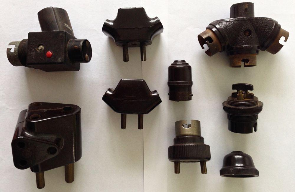 Vtg 30s 50s Bakelite Light Fitting Lamp Bulb Holder Switch