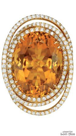 Citrine & Diamond Ring by Margherita Burgener
