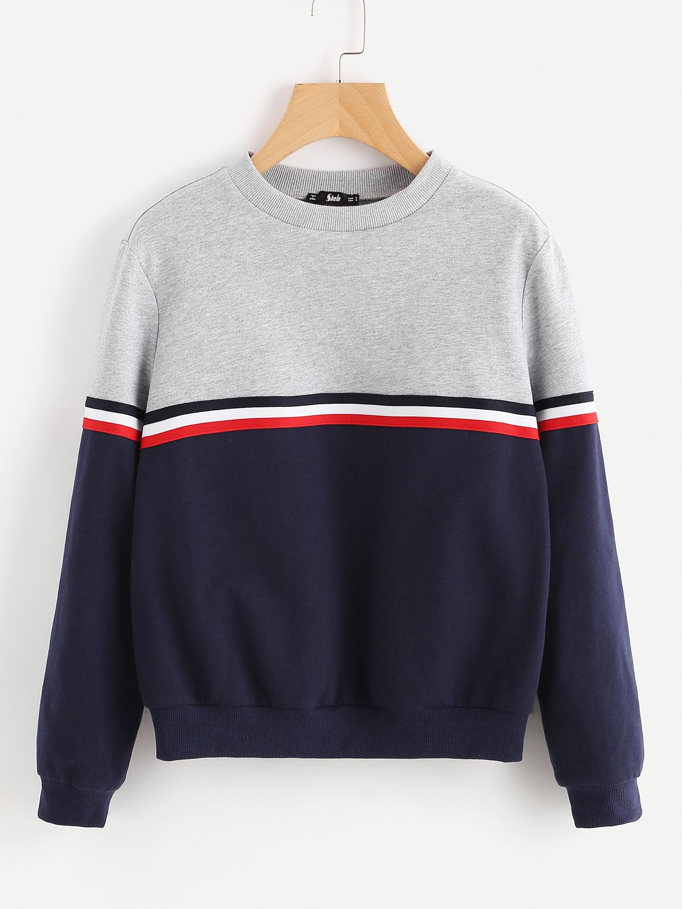 Striped Woven Tape Detail Two Tone Sweatshirt SheIn