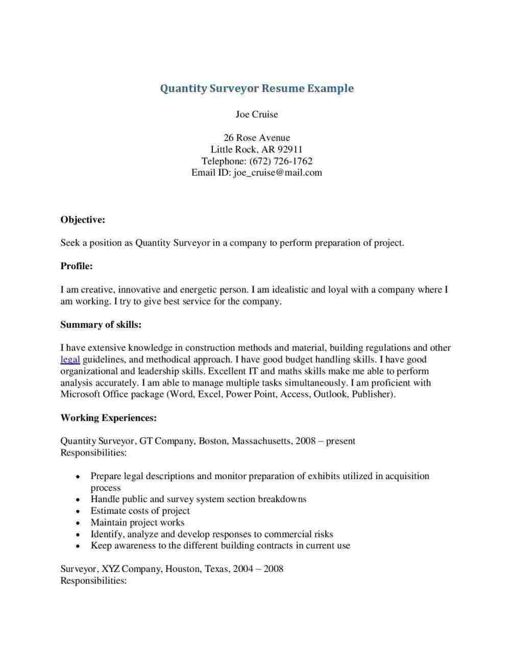 Cover Letter Template Quantity Surveyor | My Style | Online ...