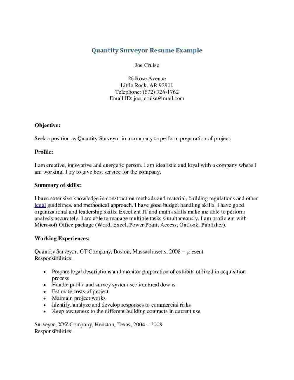 Cover Letter Template Quantity Surveyor Resume Format Resume Examples Job Resume Examples Civil Engineer Resume