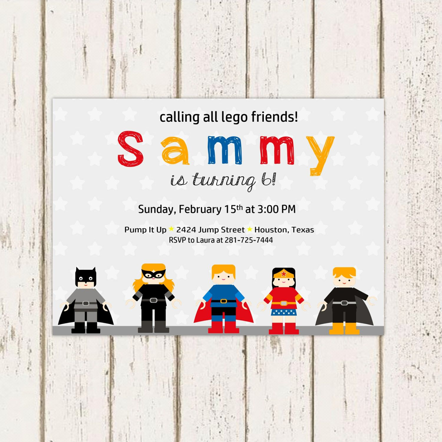 Super Hero LEGO Birthday Party Invitation, Printable Superhero Party ...