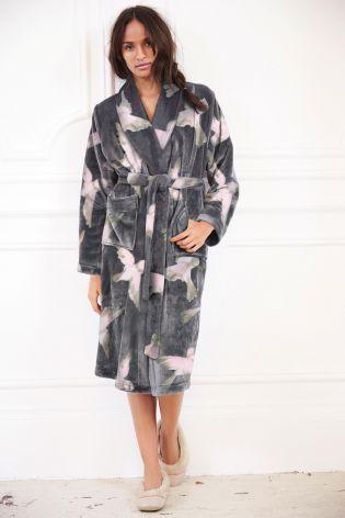 Charcoal Bird Print Dressing Gown From Next Womens Sleep